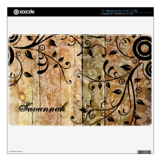 Faux Wood Damask Personalized MacBook Air Skin
