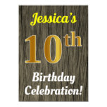 [ Thumbnail: Faux Wood, Faux Gold 10th Birthday Celebration Invitation ]