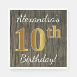 [ Thumbnail: Faux Wood, Faux Gold 10th Birthday + Custom Name Paper Napkin ]