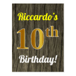 [ Thumbnail: Faux Wood, Faux Gold 10th Birthday & Custom Name Postcard ]