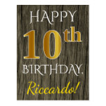 [ Thumbnail: Faux Wood, Faux Gold 10th Birthday + Custom Name Postcard ]