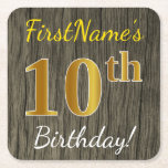 [ Thumbnail: Faux Wood, Faux Gold 10th Birthday + Custom Name Paper Coaster ]