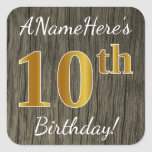[ Thumbnail: Faux Wood, Faux Gold 10th Birthday + Custom Name Sticker ]