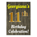 [ Thumbnail: Faux Wood, Faux Gold 11th Birthday Celebration Invitation ]