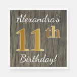 [ Thumbnail: Faux Wood, Faux Gold 11th Birthday + Custom Name Paper Napkin ]