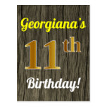 [ Thumbnail: Faux Wood, Faux Gold 11th Birthday & Custom Name Postcard ]