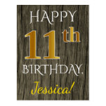 [ Thumbnail: Faux Wood, Faux Gold 11th Birthday + Custom Name Postcard ]