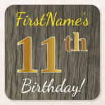 [ Thumbnail: Faux Wood, Faux Gold 11th Birthday + Custom Name Paper Coaster ]