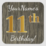 [ Thumbnail: Faux Wood, Faux Gold 11th Birthday + Custom Name Sticker ]