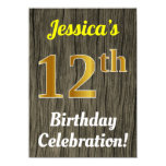 [ Thumbnail: Faux Wood, Faux Gold 12th Birthday Celebration Invitation ]
