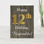 [ Thumbnail: Faux Wood, Faux Gold 12th Birthday + Custom Name Card ]