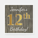 [ Thumbnail: Faux Wood, Faux Gold 12th Birthday + Custom Name Napkin ]
