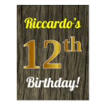 [ Thumbnail: Faux Wood, Faux Gold 12th Birthday & Custom Name Postcard ]