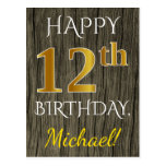 [ Thumbnail: Faux Wood, Faux Gold 12th Birthday + Custom Name Postcard ]