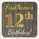 [ Thumbnail: Faux Wood, Faux Gold 12th Birthday + Custom Name Paper Coaster ]