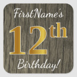 [ Thumbnail: Faux Wood, Faux Gold 12th Birthday + Custom Name Sticker ]