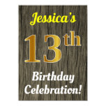 [ Thumbnail: Faux Wood, Faux Gold 13th Birthday Celebration Invitation ]