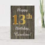 [ Thumbnail: Faux Wood, Faux Gold 13th Birthday + Custom Name Card ]