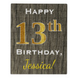 [ Thumbnail: Faux Wood, Faux Gold 13th Birthday + Custom Name Jigsaw Puzzle ]