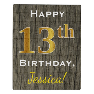 Faux Wood, Faux Gold 13th Birthday + Custom Name Jigsaw Puzzle