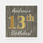 [ Thumbnail: Faux Wood, Faux Gold 13th Birthday + Custom Name Paper Napkin ]