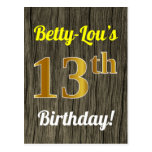[ Thumbnail: Faux Wood, Faux Gold 13th Birthday & Custom Name Postcard ]