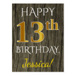 [ Thumbnail: Faux Wood, Faux Gold 13th Birthday + Custom Name Postcard ]