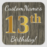 [ Thumbnail: Faux Wood, Faux Gold 13th Birthday + Custom Name Sticker ]