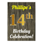 [ Thumbnail: Faux Wood, Faux Gold 14th Birthday Celebration Invitation ]