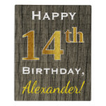 [ Thumbnail: Faux Wood, Faux Gold 14th Birthday + Custom Name Jigsaw Puzzle ]