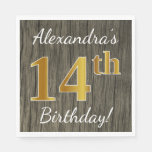 [ Thumbnail: Faux Wood, Faux Gold 14th Birthday + Custom Name Paper Napkin ]