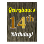 [ Thumbnail: Faux Wood, Faux Gold 14th Birthday & Custom Name Postcard ]