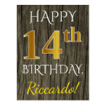 [ Thumbnail: Faux Wood, Faux Gold 14th Birthday + Custom Name Postcard ]