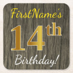 [ Thumbnail: Faux Wood, Faux Gold 14th Birthday + Custom Name Paper Coaster ]