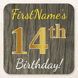 Faux Wood, Faux Gold 14th Birthday + Custom Name Square Paper Coaster