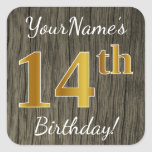 [ Thumbnail: Faux Wood, Faux Gold 14th Birthday + Custom Name Sticker ]