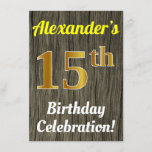 [ Thumbnail: Faux Wood, Faux Gold 15th Birthday Celebration Invitation ]