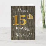[ Thumbnail: Faux Wood, Faux Gold 15th Birthday + Custom Name Card ]