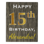 [ Thumbnail: Faux Wood, Faux Gold 15th Birthday + Custom Name Jigsaw Puzzle ]