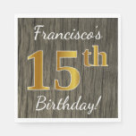 [ Thumbnail: Faux Wood, Faux Gold 15th Birthday + Custom Name Paper Napkin ]