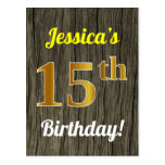 [ Thumbnail: Faux Wood, Faux Gold 15th Birthday & Custom Name Postcard ]