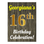 [ Thumbnail: Faux Wood, Faux Gold 16th Birthday Celebration Invitation ]