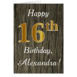 [ Thumbnail: Faux Wood, Faux Gold 16th Birthday + Custom Name ]