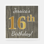[ Thumbnail: Faux Wood, Faux Gold 16th Birthday + Custom Name Napkin ]