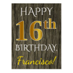 [ Thumbnail: Faux Wood, Faux Gold 16th Birthday + Custom Name Postcard ]