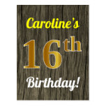 [ Thumbnail: Faux Wood, Faux Gold 16th Birthday & Custom Name Postcard ]