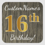 [ Thumbnail: Faux Wood, Faux Gold 16th Birthday + Custom Name Sticker ]