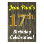 [ Thumbnail: Faux Wood, Faux Gold 17th Birthday Celebration Invitation ]