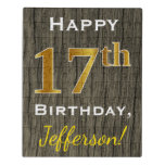 [ Thumbnail: Faux Wood, Faux Gold 17th Birthday + Custom Name Jigsaw Puzzle ]