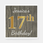 [ Thumbnail: Faux Wood, Faux Gold 17th Birthday + Custom Name Napkin ]